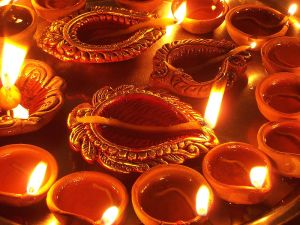 Oil candles in celebration of the festival Diwali