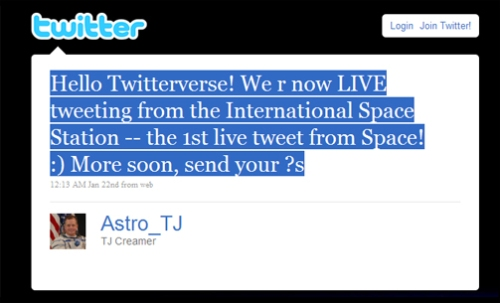 Space Shuttle Astronaut Tweet
