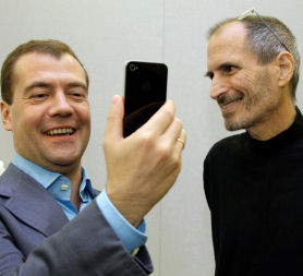 Dmitry Medvedev and Steve Jobs iPhone gift via AP