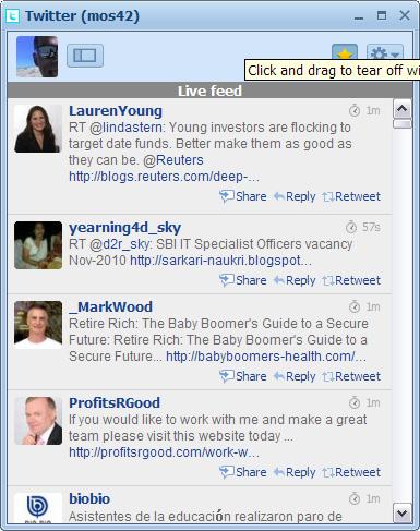 RockMelt Social Network Browser: Twitter Edge